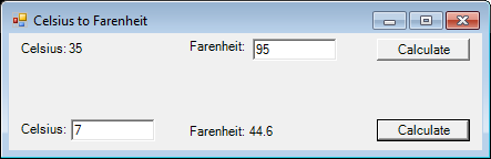 Screenshot of Celsius To Fahrenheit Converter.
