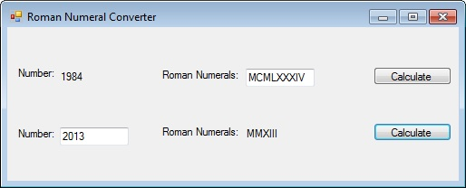 Screenshot of Roman Numeral Converter.